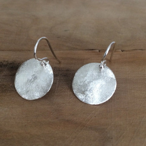 Matte Silver Disc Concave Earrings - French Wire