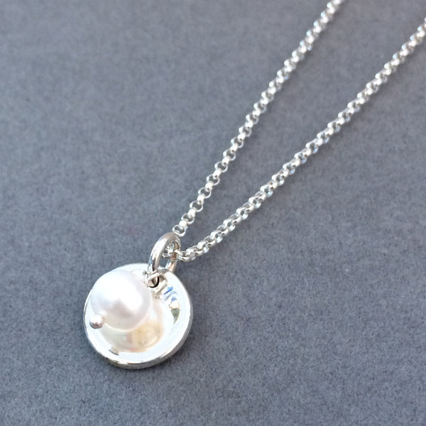 Petite Dapped Disc Pendant - High Polished Silver + White Fresh Water Pearl - Pendant