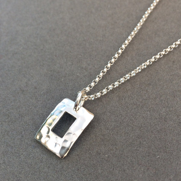 Petite Off-Center Rectangle Pendant - Hammered Silver - Pendant