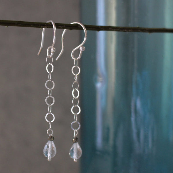Faceted Single Aquamarine Briolette + Pyrite Earrings - French Wire - Handmade Silver Jewelry San Francisco Wholesale