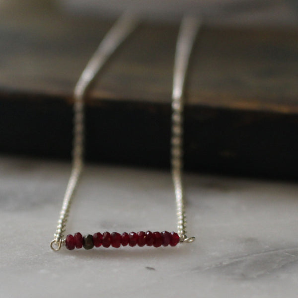 Red Ruby + Pyrite Necklace - Handmade Silver Jewelry San Francisco Wholesale