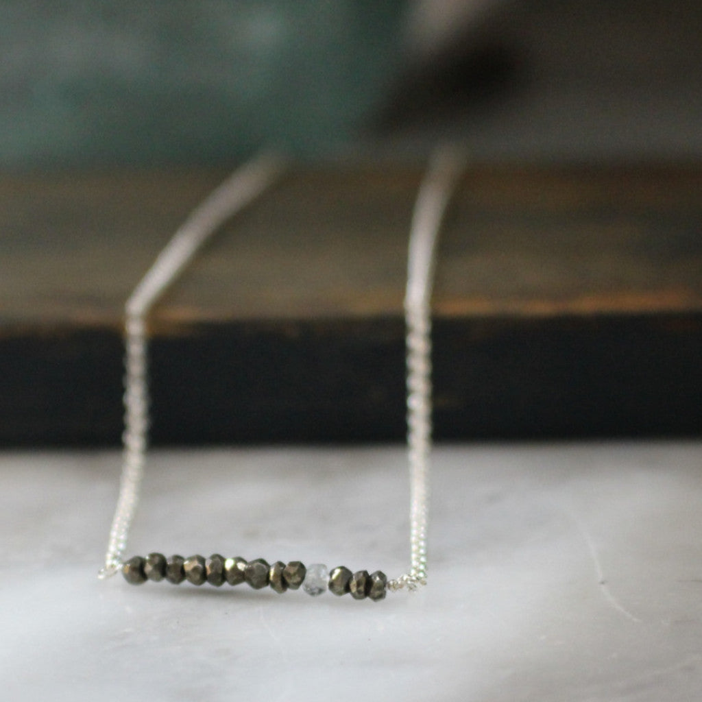 Pyrite + Aquamarine Necklace - Handmade Silver Jewelry San Francisco Wholesale