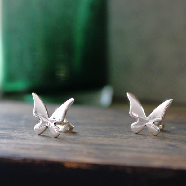 Petite Queen Butterfly Silver Earrings - Post - Handmade Silver Jewelry San Francisco Wholesale