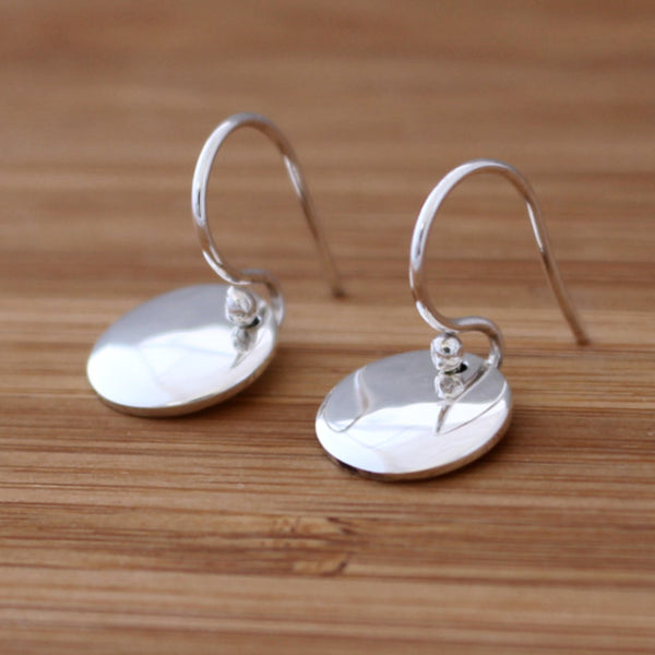 Petite Concave Disc Earrings - High Polished Silver - Silver French Wire