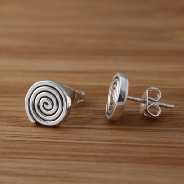 Swirl Disc Earrings - High Polished Silver - Post