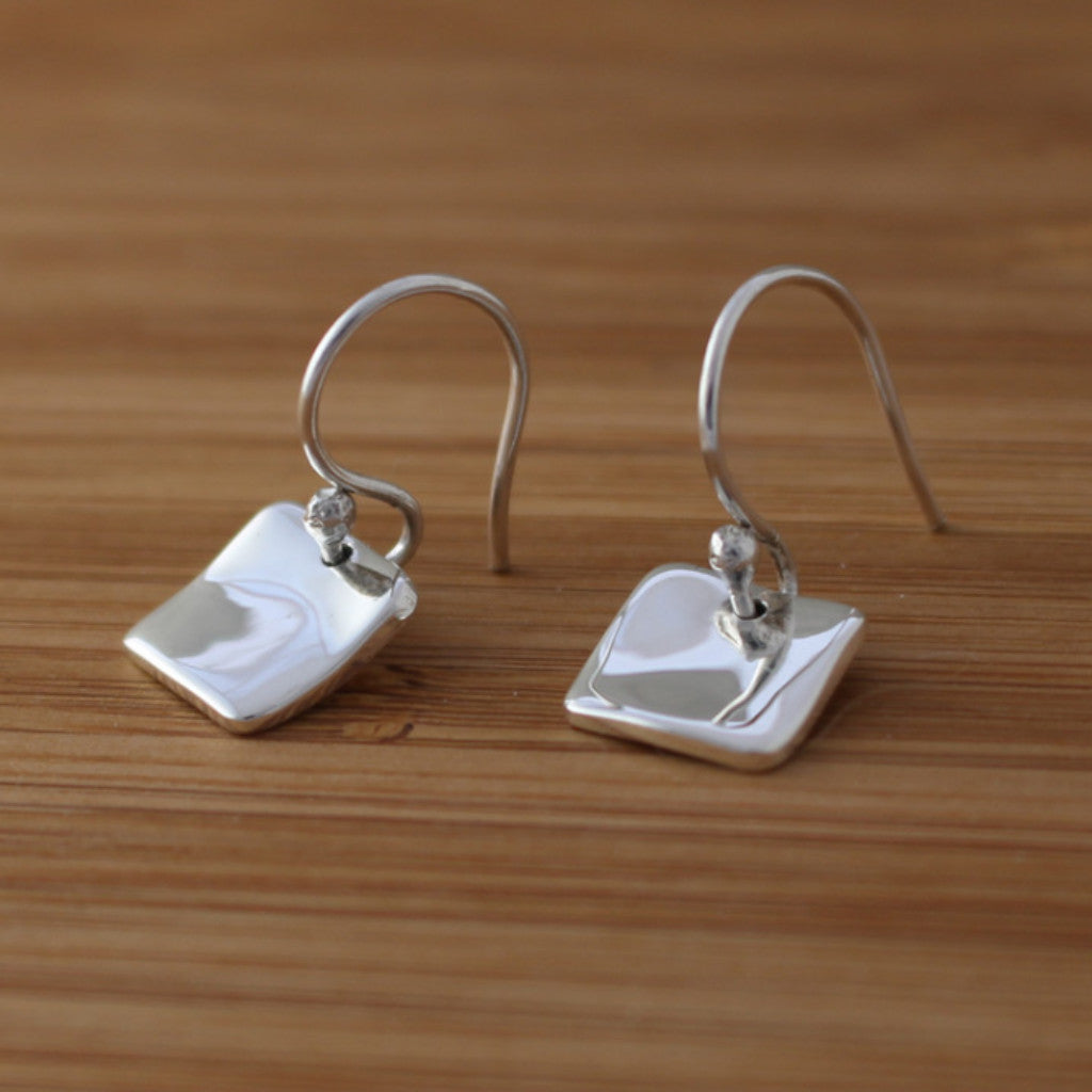 Petite Lucilla Square Earrings - Wave/High Polished Silver Finish - French Wire