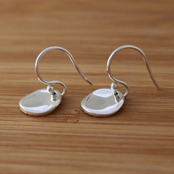 Petite Lucilla Disc Earrings - Wave/High Polished Silver Finish - French Wire