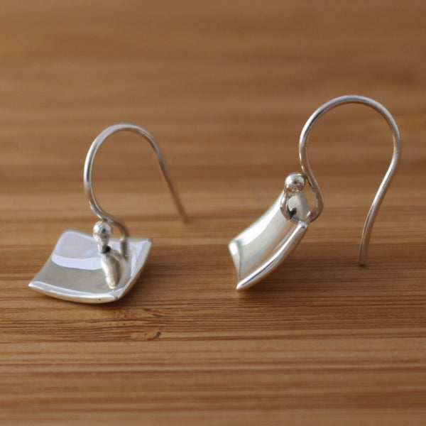 Petite Dapped Square Earrings - High Polished Silver - French Wire