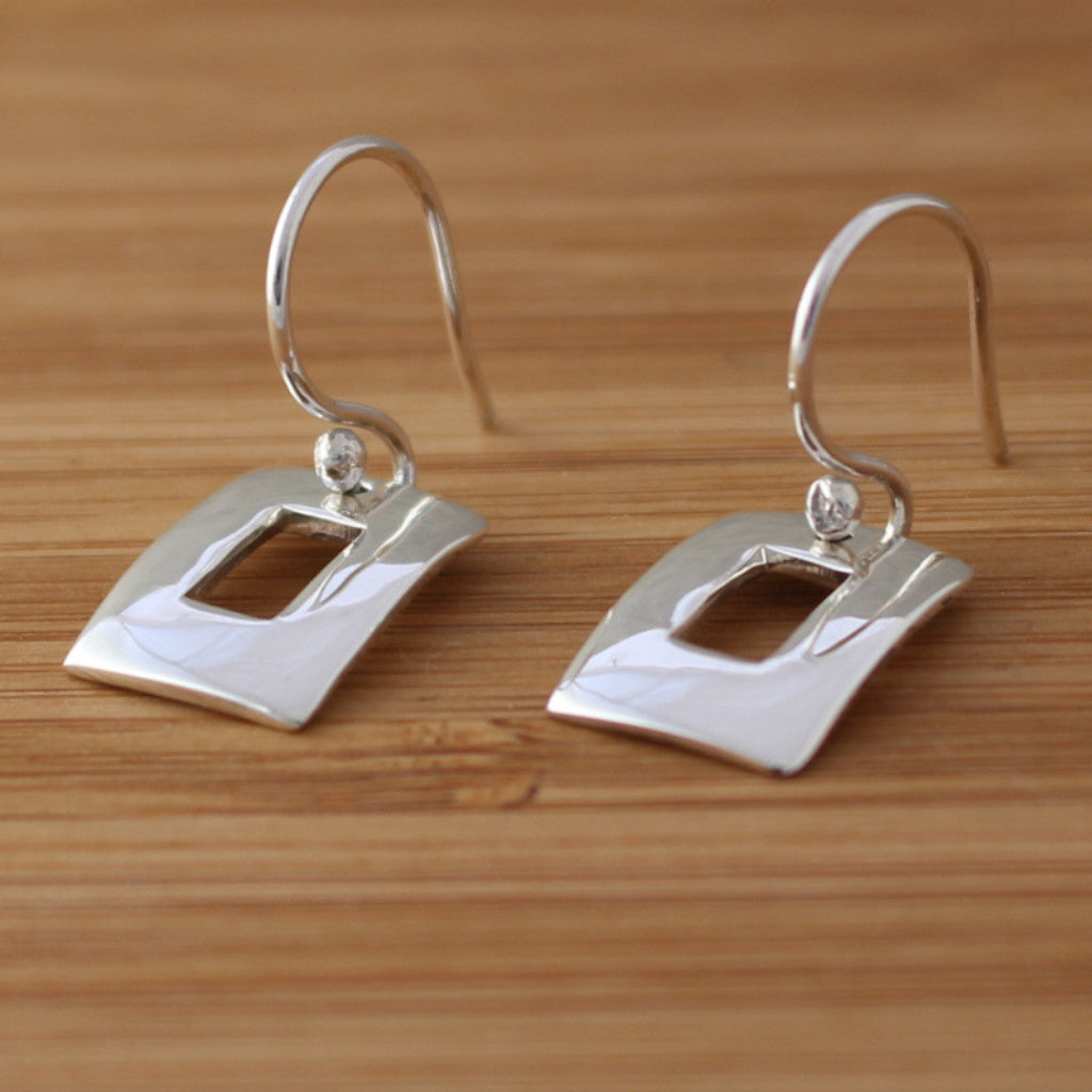 Petite Off-Center Rectangle Silver Earrings - French Wire
