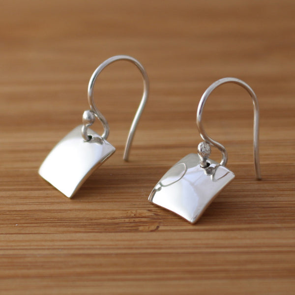Petite Concave Square Earrings - High Polished Silver - French Wire