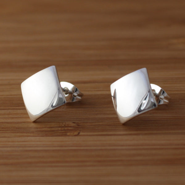 Petite Concave Rhombus Earrings - High Polished Silver - Silver Post