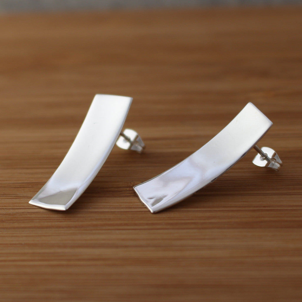 Dapped Rectangle Silver Earrings - Post