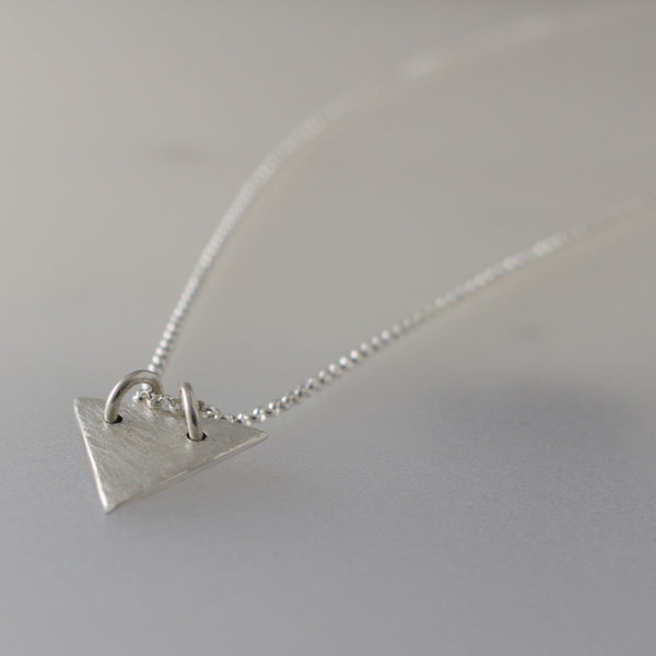Nadia Pendant - Matte Triangle Silver Pendant - Rolo Chain Included