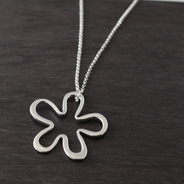 Off-Center Signature Daisy Flower Pendant - High Polished Silver