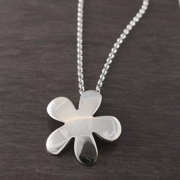 Signature Daisy Flower Pendant - High Polished Silver - Silver Rolo Chain