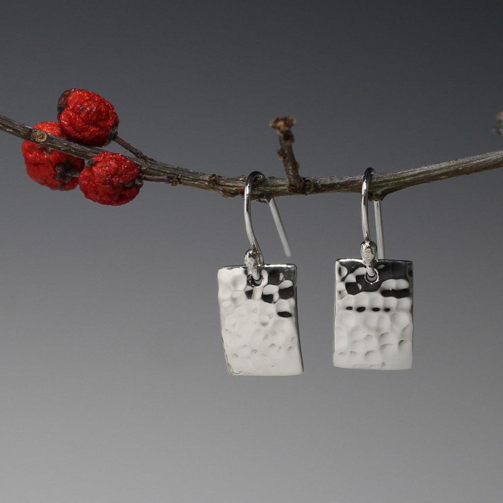 Petite Concave Rectangle Earrings - Hammered Silver - French Wire