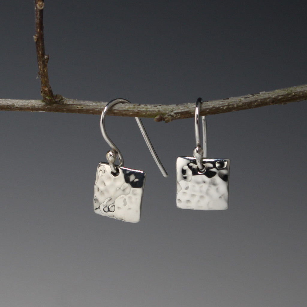 Petite Concave Square Earrings - Hammered Silver - French Wire