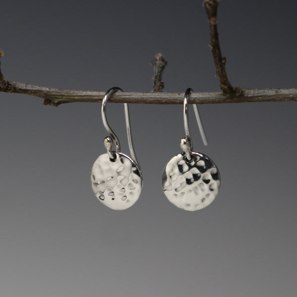Petite Concave Disc Earrings - Hammered Silver - French Wire