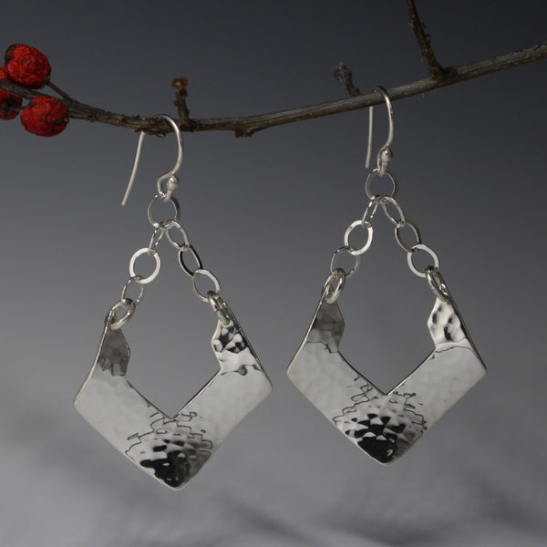 Greta Earrings - Long Hammered Rhombus Silver Earrings - French Wire