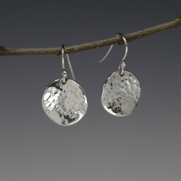 Lucilla Disc Earrings - Wave/Hammered Silver Finish - French Wire