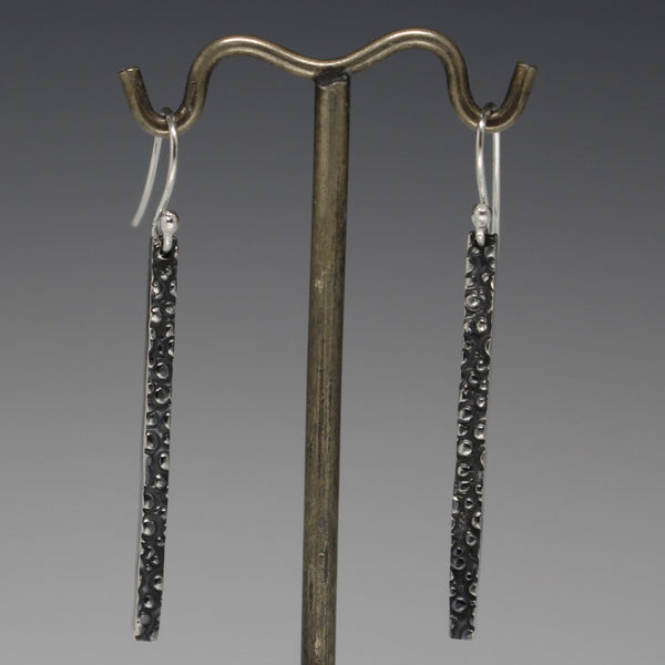 Slab Dotted Earrings - Oxidized Silver - French Wire