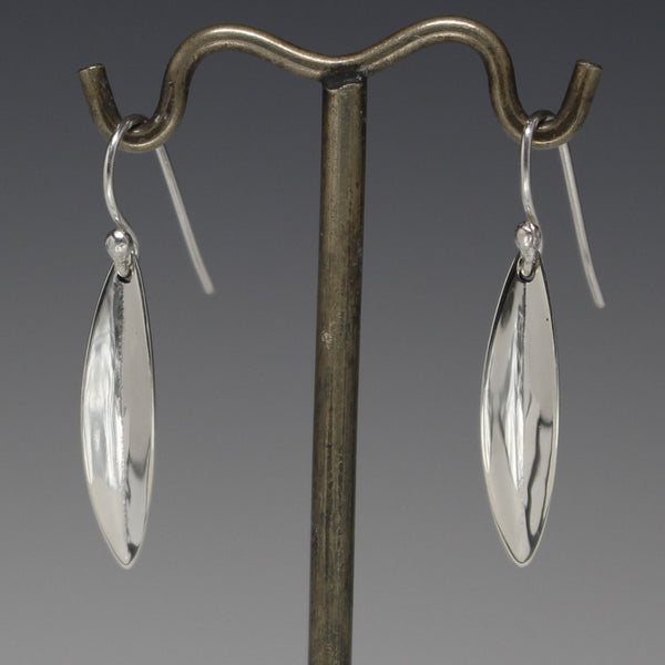 Small Pod Earrings - High Polished Silver - French Wire