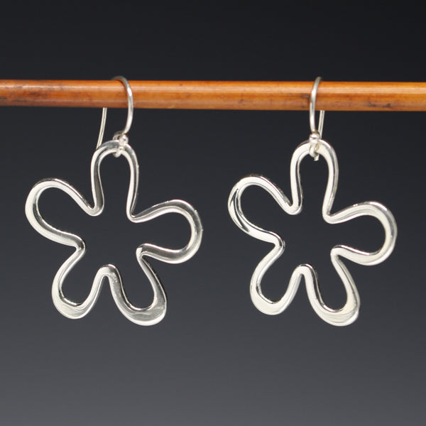 Off-Center Signature Daisy Flower Earrings - High Polished Silver - French Wire