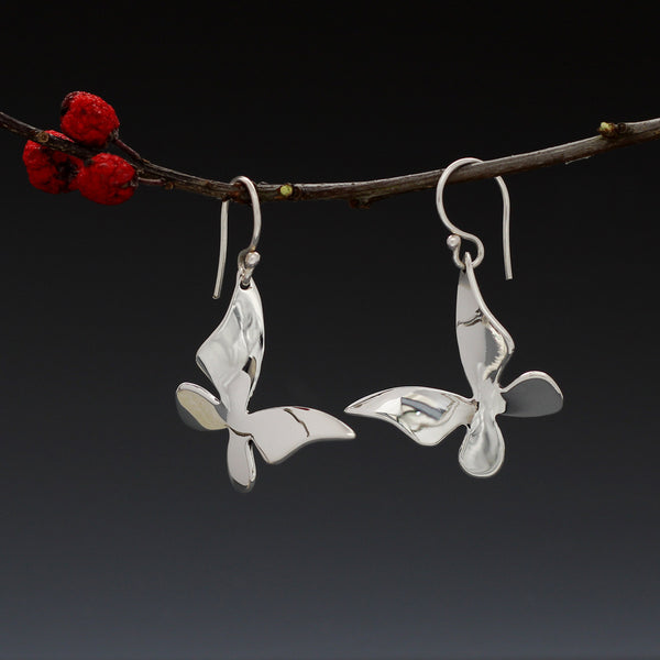 Queen Butterfly Earrings - High Polished Silver - French Wire