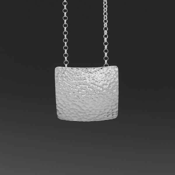 Concave Square Pendant - Hammered Silver
