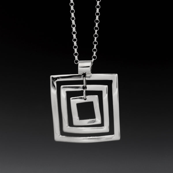 Rippled Multi Square Pendant - High Polished Silver
