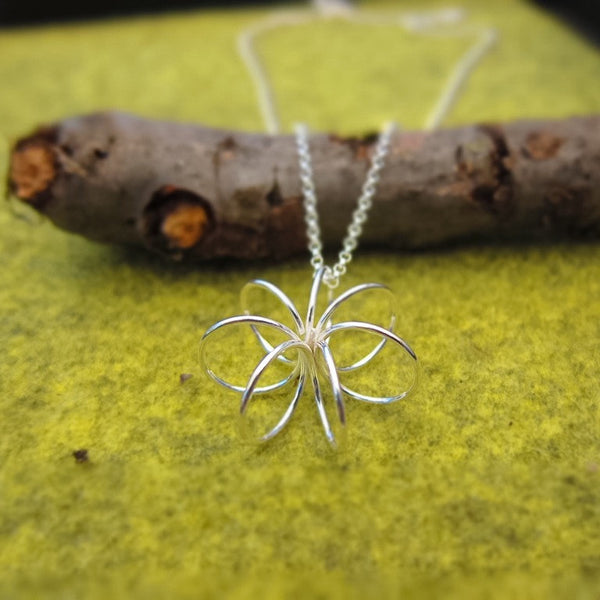Floating Flower Silver Wire Pendant - Handmade Silver Jewelry San Francisco Wholesale