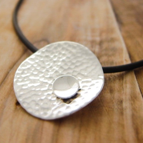 Aya Hammered Silver Pendant - Handmade Silver Jewelry San Francisco Wholesale