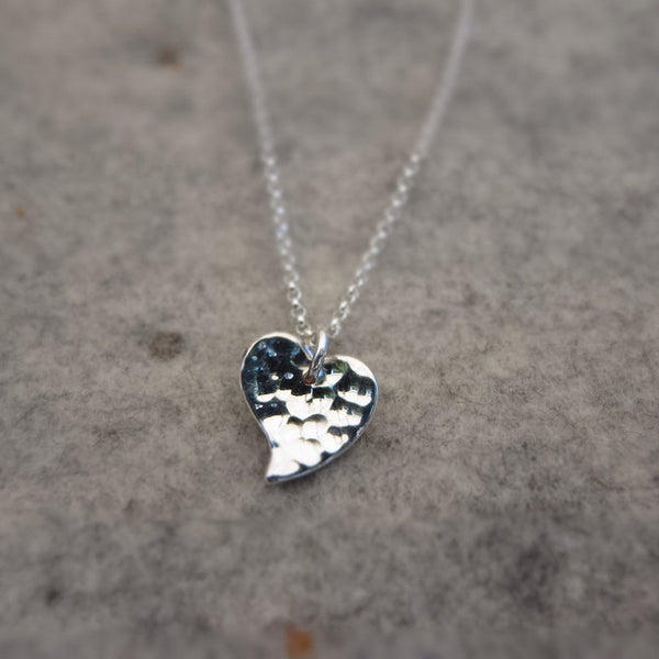 Petite Heart Hammered Silver Pendant - Handmade Silver Jewelry San Francisco Wholesale