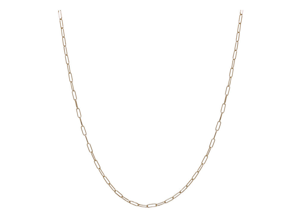 Chain: 2mm Long Link Yellow Gold