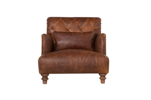 Acacia Leather Chair - Spur Terracotta