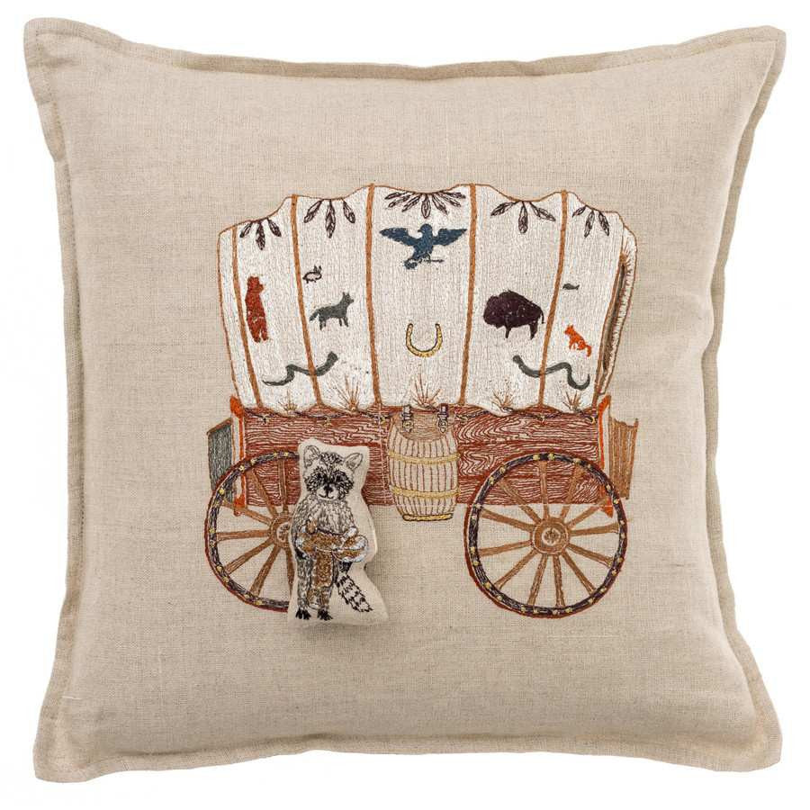 Pillow 12x12: Raccoon Saddle Maker Wagon Pocket