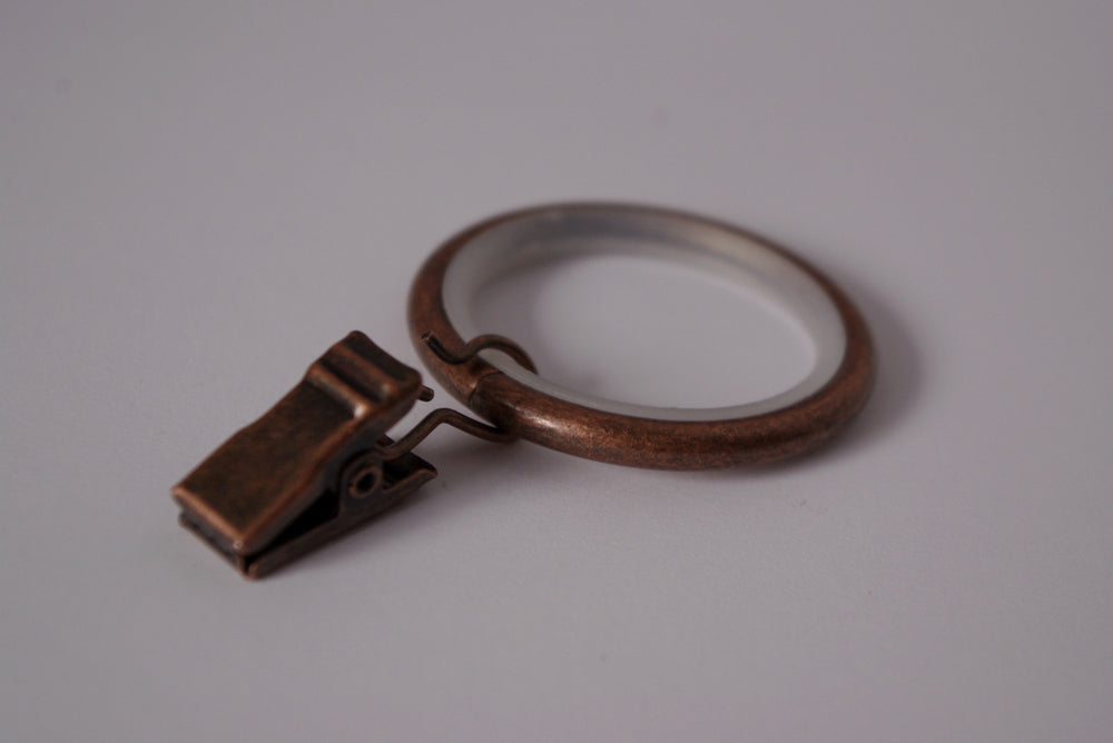Silent Antique Copper Curtain Ring Clips (Pack of 10)