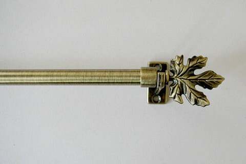 EXTENDABLE Curtain Pole Set - Antique Gold / Bronze 'Maple' 37cm - 60cm