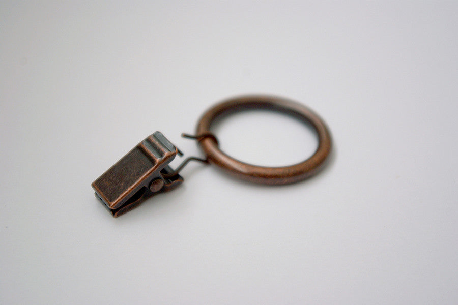 Antique Copper Curtain Ring Clips (Pack Of 10)