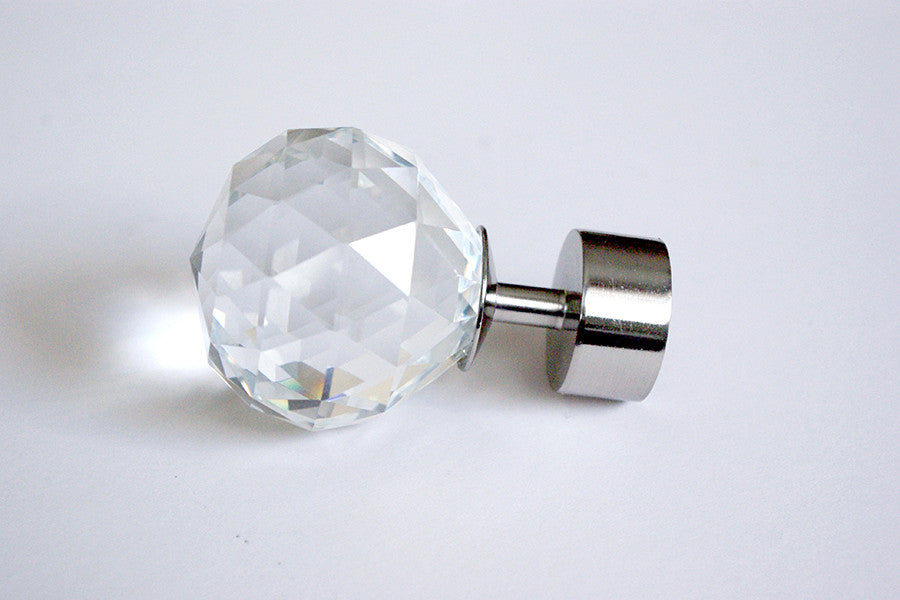 Curtain Pole Finials – Crystal – Silver Ø25mm (Pack of 2)