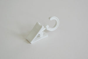 Plastic Curtain Hook Clips with Rotatable Hook - White Ø10mm (Pack of 10) - GNTS Decor
