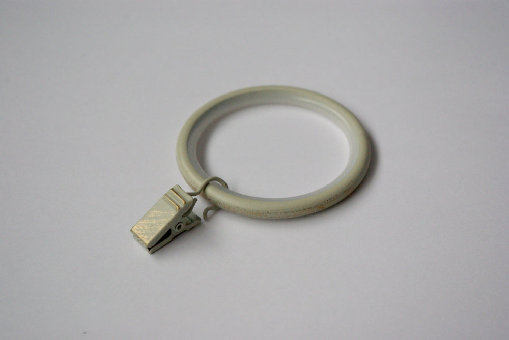 Silent Vintage White Curtain Ring Clips Ø30mm (Pack of 10)