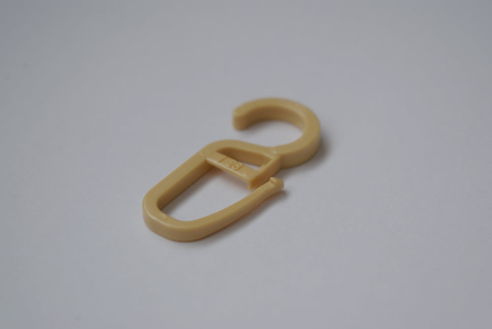 Plastic Curtain Hook Clips - Light Oak Ø10mm (Pack of 50)