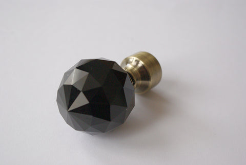 Curtain Pole Finials – Black Crystal Ball - Bronze / Chrome / Stainless Steel / Black Ø19mm (Pack of 2)