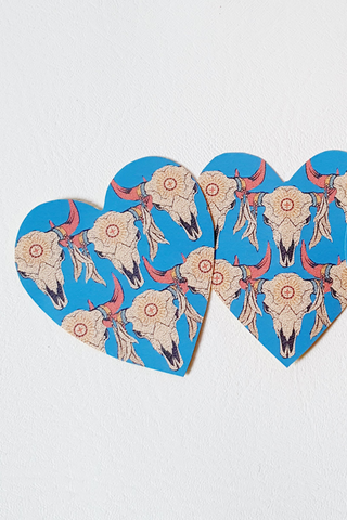 SAMPLE Cow Skull Heart Sticker