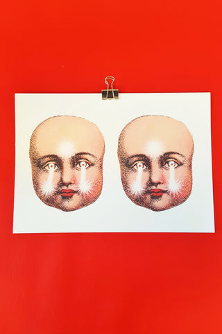 Creepy Doll Faces Art Print
