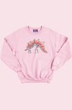 Dino Skeleton Roses Baby Pink Sweater