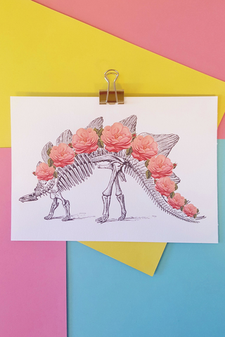 Dino Skeleton Roses Art Print