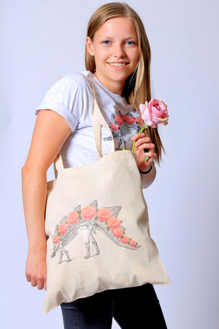 Dino Skeleton Roses Tote Bag