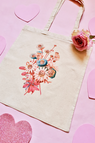 Doll Bouquet Natural Canvas Tote Bag